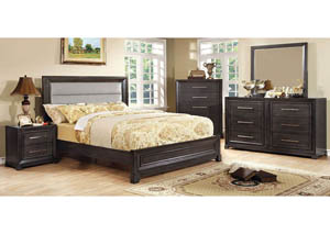 Bradley Upholstered Queen Platform Bed w/Dresser, Mirror, Drawer Chest, and Nightstand