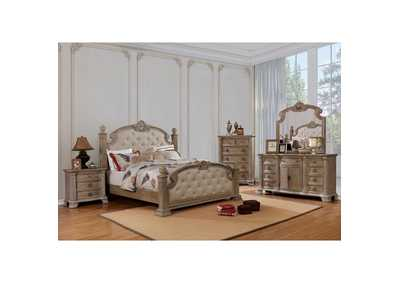 Montgomery Rustic Natural Upholstered Low Poster Queen Bed w/Dresser and Mirror