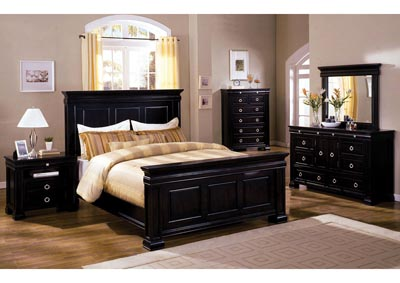Cambridge Espresso Eastern King Panel Bed w/Dresser and Mirror