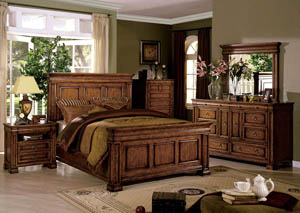Cambridge Tobacco Oak Queen Panel Bed w/Dresser and Mirror