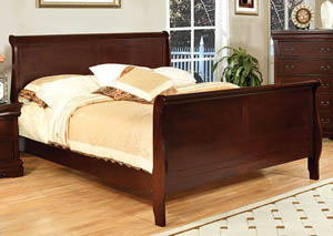 Louis Philippe III Cherry Eastern King Sleigh Bed