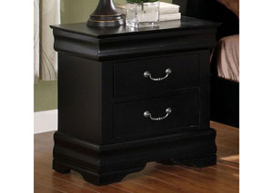 Louis Philippe II Black Nightstand,Furniture of America