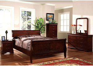Louis Philippe II Cherry Queen Sleigh Bed w/Dresser, Mirror, Drawer Chest, and Nightstand