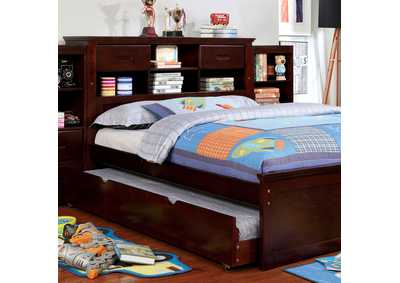 Pearland Dark Walnut Twin Bed w/2 Bookcases