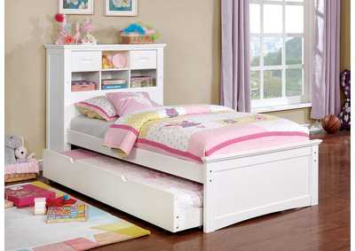 Pearland White Full Bookcase Bed w/Storage