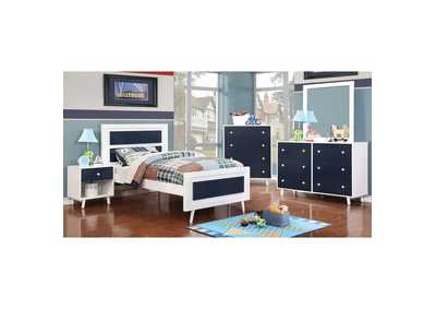 Alivia Blue & White Full Platform Bed