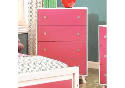 Alivia Pink & White Drawer Chest