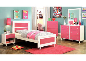 Alivia Pink & White Twin Platform Bed w/Dresser and Mirror