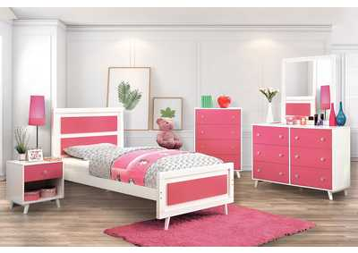 Alivia Pink & White Full Platform Bed