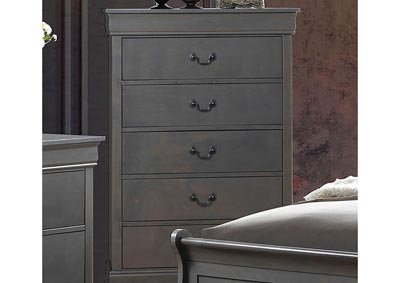 Louis Philippe III Gray Drawer Chest