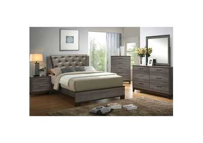 Manvel Antique Gray Upholstered Platform Queen Bed w/Dresser, Mirror, Drawer Chest, and Nightstand