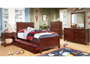Colin Cherry Twin Platform Bed w/Dresser and Mirror