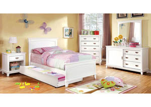 Colin White Twin Platform Bed w/Dresser, Mirror and Nightstand
