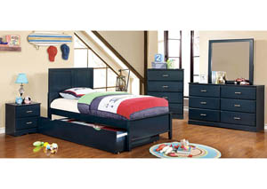 Prismo Blue Twin Platform Trundle Bed w/Dresser and Mirror