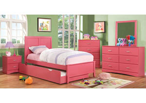 Prismo Pink Twin Platform Trundle Bed w/Dresser and Mirror