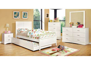 Prismo White Twin Platform Trundle Bed w/Dresser and Mirror