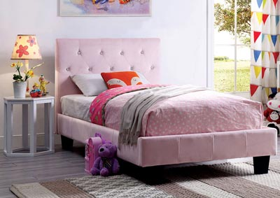Velen Blush Pink Upholstered Twin Platform Bed