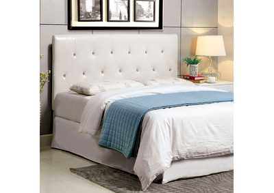 Velen ll White Leatherette Queen Headboard w/Acrylic Buttons