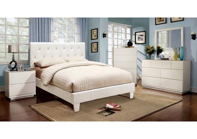 Velen Upholstered White Eastern King Bed