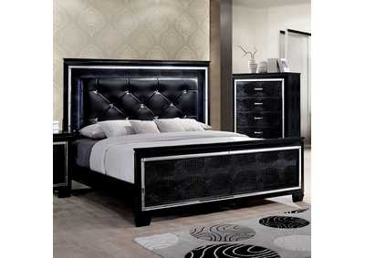 Bellanova Black Eastern King Upholstered/Panel Bed