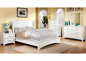 Delphie White Upholstered California King Bed