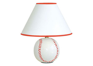 Sparta Ivory & Red Baseball Table Lamp (8/Ctn)
