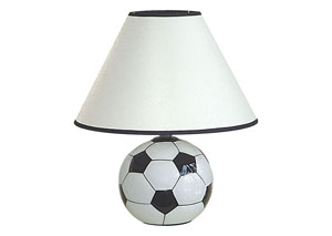 Sparta Ivory & Black Soccer Table Lamp (8/Ctn)