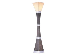 Pandora Dark Wood/Black/Chrome Torchiere Lamp