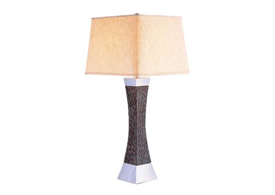 Pandora Dark Wood/Black/Chrome Table Lamp