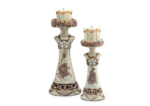 Rosella Soft Celadon Candle Holder Set (Set of 4)