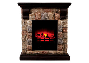 Vesti Portable Faux Stone Fireplace w/Heat & Light
