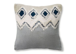 Crosbie Gray/Blue Diamond Accent Pillow 18 x 18