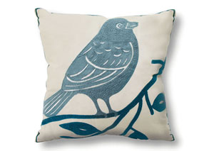 Twit Blue & Ivory Bird Pattern Pillow, 18 x 18' (6/Ctn)