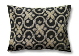 Tia Black Pattern Pillow, 18 x 18' (6/Ctn)