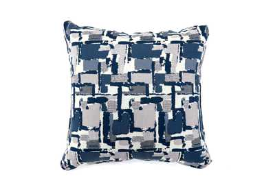 Concrit Blue Patchwork Pattern Pillow 22 x 22