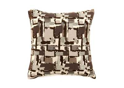 Concrit Brown Patchwork Pattern Pillow 22 x 22