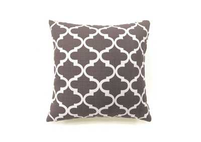 Xia Gray Quatrefoil Pattern Pillow, 18 x 18' (Set of 2)