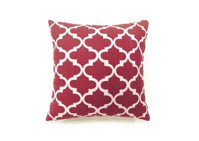 Xia Red Quatrefoil Pattern Pillow, 18 x 18' (Set of 2)