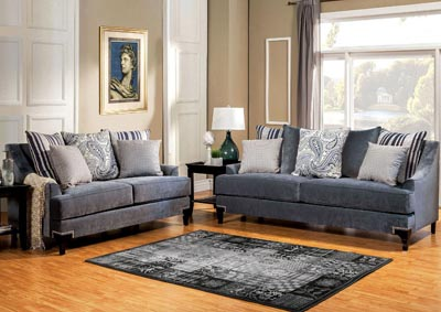 Vittoria Slate Blue Sofa and Loveseat