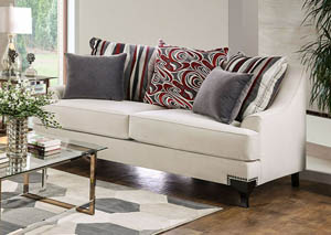 Viscontti Ivory Loveseat w/Pillows