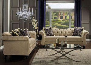Antoinette Light Mocha Velvet Sofa and Loveseat w/Pillows