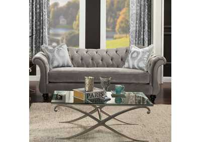 Antoinette Dolphin Gray Velvet Sofa w/Pillows