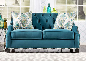 Celeste Azure Blue Velvet Loveseat w/Pillows
