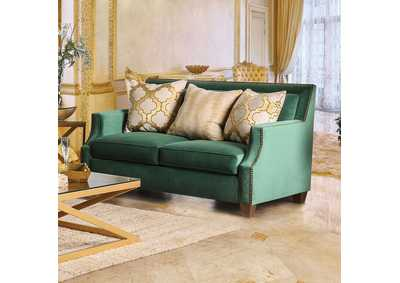 Image for Verdante Emerald Green Loveseat w/Pillows