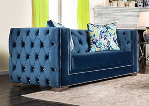Salvatore Lapis Blue Velvet Loveseat w/Pillows