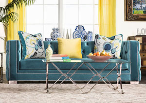 Salvatore Turquoise Velvet Sofa w/Pillows