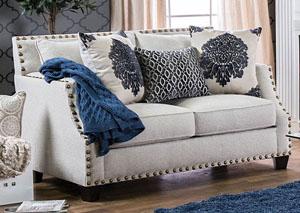 Cornelia Beige Nailhead Trim Loveseat W/Pillows