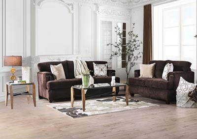 Brynlee Chocolate Sofa & Loveseat