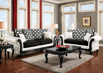 Dolphy Black/White Sofa and Loveseat