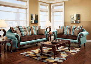Mulligan Teal/Dark Brown Sofa and Loveseat